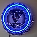 NEONUHR-TRIUMPH ROCKET III-2300cc- WANDUHR BELEUCHTET MIT BLAUEN NEON RING UND SCHWARZEN RAHMEN! ERHÄLTLICH AUCH IN ANDEREN NEON FARBEN!