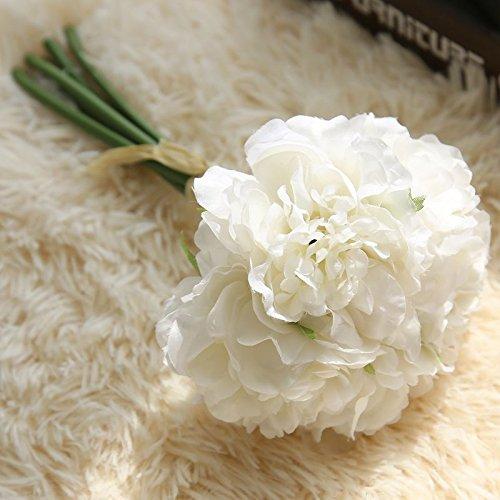 DANMEI 5x Kunststoff Peony Bouquet Plant, künstliche Blumen für Home Hotel Hochzeit Party Garten Craft Art Decor, Plastik, weiß, Normal
