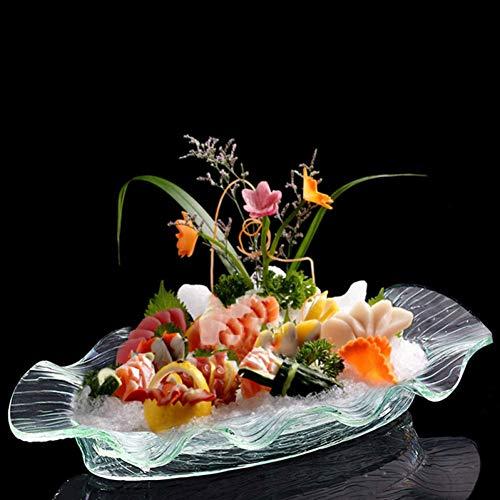CJUERLS Geschirr Acryl Eiswürfelschale Oval Buffet Restaurant Teller Wavy Edge Obst Snack Dish Mit Wasserdichtem Brett Sushi Sashimi Tray Rack 1 Stck Oval Tray-rack