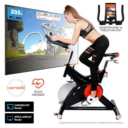 Miweba Sports Profi Indoor Cycling Bike MS500 Ergometer Heimtrainer - 25 Kg Schwungmasse - Pulsgurt - Filzbremse - Tablethalterung
