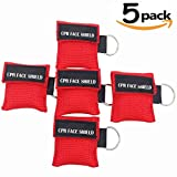 Pack of 5pcs CPR Mask Keychain Ring Emergency Kit Rescue Face Shields with One-way Valve Breathing Barrier for First Aid or AED Training, Adult and Infant, Easy to Carry (Red)