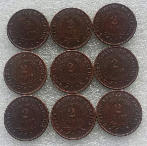 Rare Antique USA United States Full Set 1865-1873 9pcs Two Cents Coin Seltene Munze -