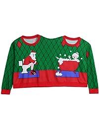 VJGOAL Moda Casual suéter de Dos Personas Unisex Parejas Pullover Divertido de Navidad de Papá Noel Blusa Camiseta Top siamés