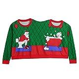 Zwei Personen Pullover Unisex Paare Neuheit Weihnachten Bluse Top Shirt Damen Christmas Sweater(Grün,XL)