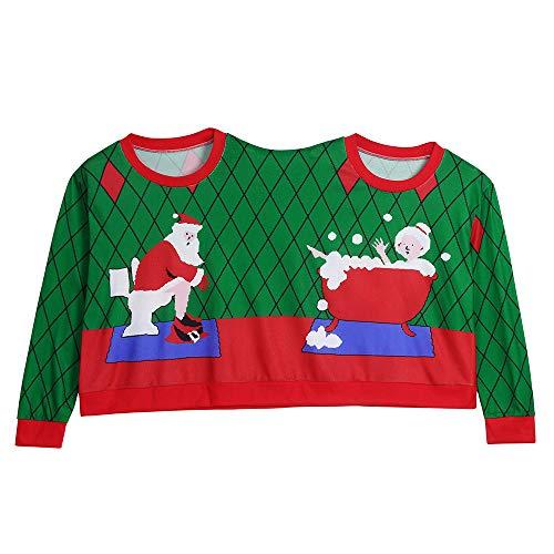 Geili Weihnachten Pullover Zwei Person Hässliche Pulli Renntier Schneeflocke Print Paare Sweatshirt Neuheit Weihnachten Bluse Top Shirt Mantel Outwear für Damen Herren (XXL, Grün)