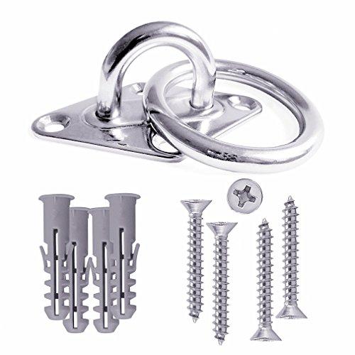 Qiorange crochet de fixation pour mur ou plafond avec anneau rond acier métal - Support/fixation pour Sling Trainer, Hamac, Aerial Yoga, voile d'ombrage (1 Set)