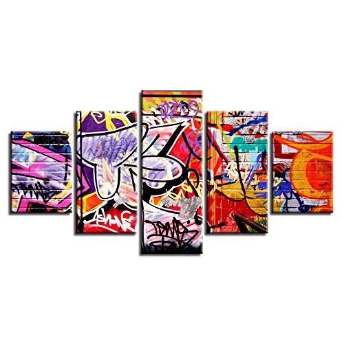 XYYAI 5 Cuadro Lienzo Cuadro En Lienzo Graffiti Abstract