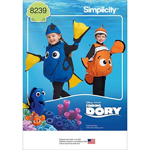 Kostüm Dory Disney - Simplicity Muster 8239Disney Finding Dory Kostüme für Kleinkinder
