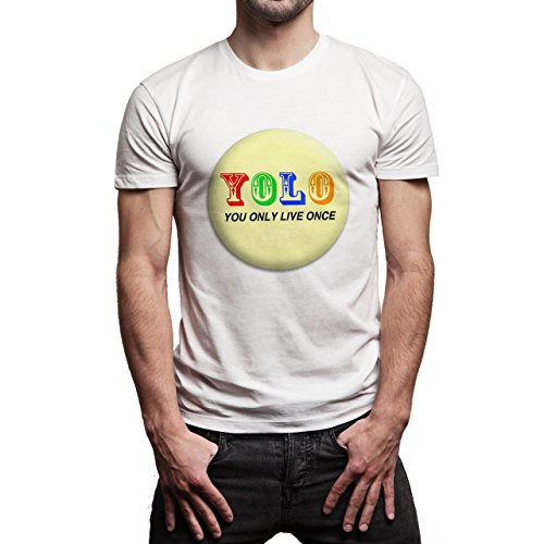 YOLO You Only Live Once Badge Light Yellow Background Herren T-Shirt Weiß