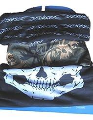 (Pacquete de 3) Braga para el cuello, pañuelo de microfibra multifunción, diseños negro y alambre de espino blanco / verde de camuflaje / mandíbula del cráneo