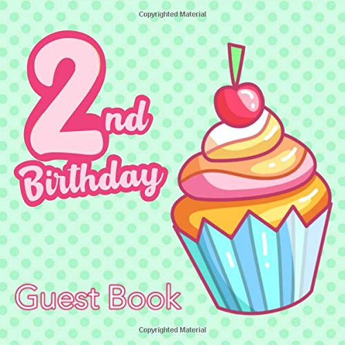 2nd Birthday Guest Book: Second Birthday Rainbow Cupcake Guest Book - Kawaii Mint Green Polka Dot Sign in Book for Two Year Old Girls Boys 2 Yr Old ... Space for Message  (112 Pages 8.25 x 8.25)