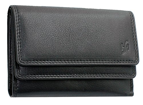 - 51ZBiNgRKeL - LADIES DESIGNER MINI SOFT LEATHER PURSE WALLET CREDIT CARD, I.D & COIN POCKET GIFT BOXED FROM STARHIDE #5545 (BLACK)