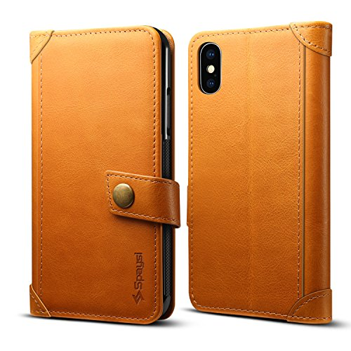 spaysi iPhone X Wallet Tasche Italienische echt Leder handgefertigt Case für iPhone X Karte Fall Slim iPhone X Folio Fall mit Magnetverschluss IPHONE X Tasche Flip Case Book Style Authentic, hellbraun