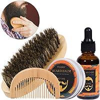 Kit de cuidado de la barba Barba aceite bálsamo peine cepillo para hombres Barba cuidado diario