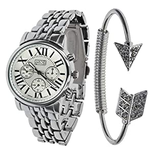 Eton Silvertone Chrono Effect Dial Bracelet Strap Watch & Bangle Set