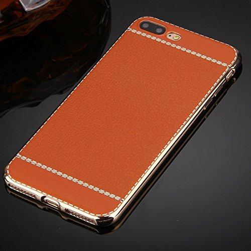 Hülle für iPhone 7 plus , Schutzhülle Für iPhone 7 Plus 3D Litchi Texture Soft TPU Schutzhülle ,hülle für iPhone 7 plus , case for iphone 7 plus ( Color : Brown ) Brown