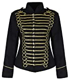 Ladies Black Gold Emo Punk Goth Napoleon Military Drummer Parade Jacket