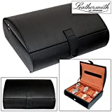 Leathersmith of London® LIMITED EDITION Gents Genuine Black Bonded Leather 10 Watch Storage Case Organiser Box with Bronze Interior