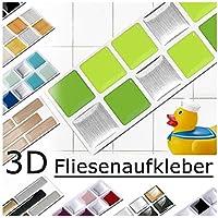 7 piezas Set 25,3 x 3,7 cm verde claro césped plateado etiqueta adhesiva para baldosas Design 9 I Pegatina Mosaic 3D Sticker Cocina Baño Azulejos y Baldosas Decoracion autoadhesivo Grandora W5288
