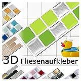 Grandora 7er Set 25,3 x 3,7 cm Fliesenaufkleber Verschiedene Grüntöne Fliesensticker Design 9 Mosaik 3D-Effekt Aufkleber Küche Bad Fliesendekor selbstklebend W5288