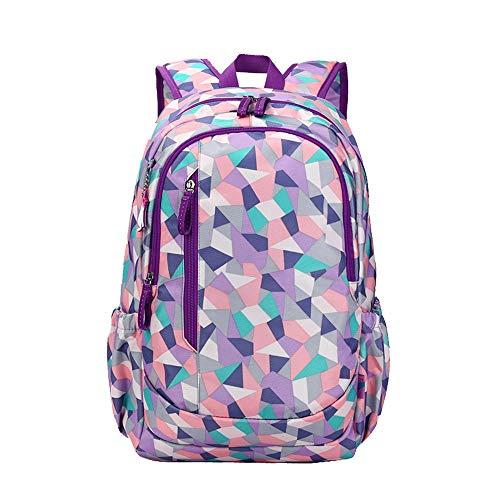 XINBABY Schulrucksack, wasserdichter Leichter Schulrucksack Damen-Blumenrucksack, Mode-College-Mädchen-Computer-Tasche Geeignet für 15-Zoll-Laptops und Notebooks (Color : Purple)