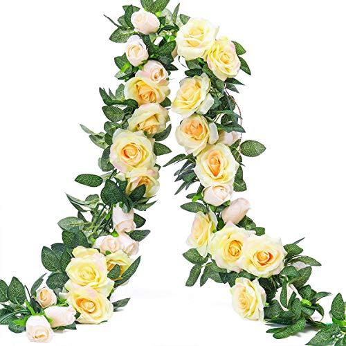Ksnrang Künstliche Rosen Blumengirlande Kunstblumen Seidenblumen Gefälschte Blumen Rose Girlande Hängend Rebe für Zuhause Wand Hochzeit Bogen Anordnung Dekoration (2 Stücke, 9 Blumen-Champagner) -