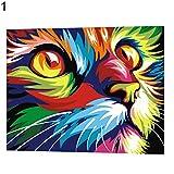 uniqueaur Tiger Cat Animal World Elefant Eagle Deer Digital Malerei, DIY Tiere Öl Gemälde von Zahlen rahmenlose Farbe Leinwand Wand Wohnzimmer Kunst, 1#
