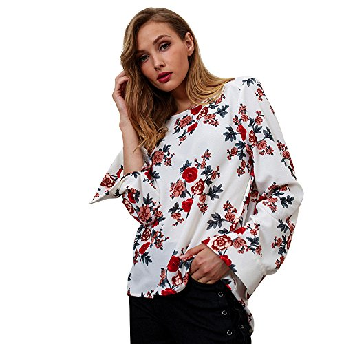 Bluse Damen Blumendruck Pullover Mode Frauen Langarmshirt Aufflackern -