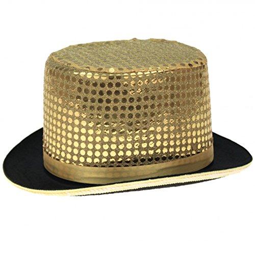 Kostüm Sylvester - Pailletten Zylinder Hut Glitzer Kappe Sylvester Karneval Party 6 Farben (Gold)