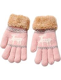 Webla Gants en Tricot pour Enfants de 8-13 Ans Gants Motif Cerf de Noël de  Dessin Animé Épaissir Chauds D hiver Filles Garçons Mitaines… 71cc64ea7c0