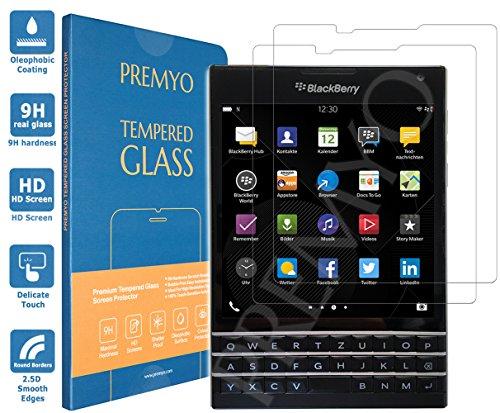 PREMYO 2 Stück Panzerglas Schutzglas Displayschutzfolie Folie kompatibel für BlackBerry Passport Blasenfrei HD-Klar 9H 2,5D Gegen Kratzer Fingerabdrücke
