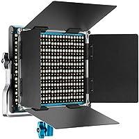 Neewer Metal Bi-Color Luz Video LED para Estudio, Youtube, Fotografía de Producto, Disparo de Video, Marco de Metal Duradero, Regulable 660 Perlas, con Soporte U y Barndoor, 3200-5600K, CRI 96+(Azul)