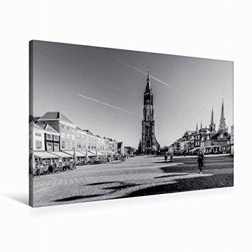 Premium Textil-Leinwand 90 cm x 60 cm quer Blick auf die Nieuwe Kerk | Wandbild, Bild auf Keilrahmen, Fertigbild auf echter Leinwand, Leinwanddruck