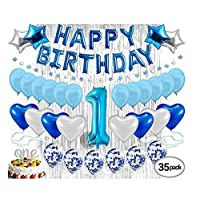 1st Birthday Decoration For Baby Boy First Birthday Decoration Balloon, Party Supplies Kit, Banner, Confetti Balloons, Number One Cake Topper Blue, Foil Curtain, Photo Booth Smash Cake Props Little