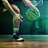 Amaae Size 7 Glowing Reflective Basketball Light Up Basketball Glow in The Dark(Color:Green & Material:PU)