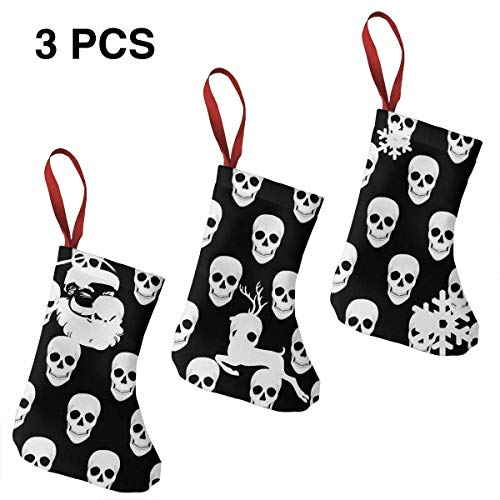 (Jiayou J Halloween Holiday Skull Christmas Stockings Set of 3 Santa,Snowman,Reindeer,Xmas Decorations)