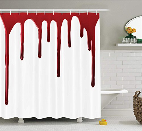 Tgyew Bloody Shower Curtain Set Flowing Blood Horror Spooky Halloween Zombie Crime Scary Help Me