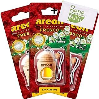 AREON Auto-Lufterfrischer Parfüm Fresco 4 ml - Maiglöckchen-duft - Hängende Flasche Diffusor mit Echtholzdeckel, langlebig, Set von 3