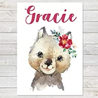 Baby Wombat with Flower, Cute Personalised Animal Print for Kids, A4 or A3