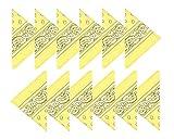 Boolavard 100% Baumwolle, 1er 6er, oder 12er Pack Bandanas mit original Paisley Muster | Farbe nach Wahl Headwear/Haar Schal Ansatz Handgelenk Verpackungs Band Kopf Bindung (12er Gelb)