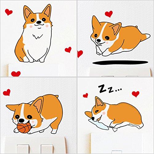 Wandaufkleber Schalter Niedlichen Haustier Corgi Hund Kreative Wohnzimmer Schlafzimmer Cartoon Notebook Wandaufkleber Malerei (Corgi Malerei)