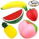 5 Pcs Slow Rising Jumbo Peach Banana Watermelon Pineapple Strawberry Fruit Squishies Kawaii Squishy Charms Party Supplies (Random Colour)