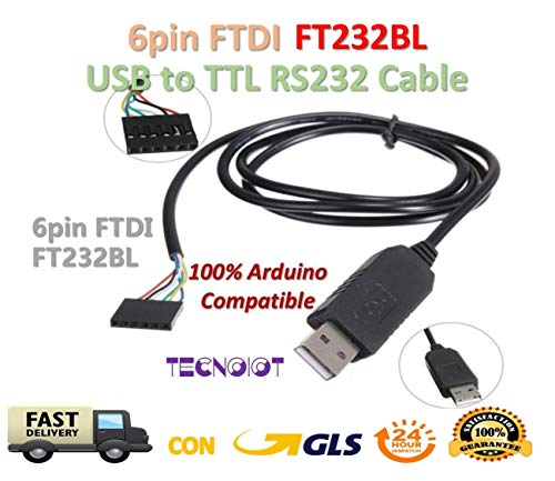 TECNOIOT 6Pin FTDI FT232BL USB To Serial Adapter Module USB TO TTL RS232  Arduino Compatible Cable (Improved Version from FT232RL)