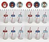 Bada Bing 12 Set Trinkglas Weihnachtsmotiv mit Deckel Strohhalm Schneemann Weihnachtsmann Rentier 75