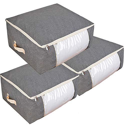 Qozary Aufbewahrungsbeutel für Bettdecken, Decken, Kleidung, Decken und Handtücher, Besser und stabil, unter dem Bett, große Aufbewahrungstaschen, ideal für Schränke, Schlafzimmer (grau) -