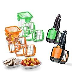 Idea Regalo - Nicer Dicer Quick - Taglia Frutta e Verdura a Mano, 7 Pezzi Orange o Verde