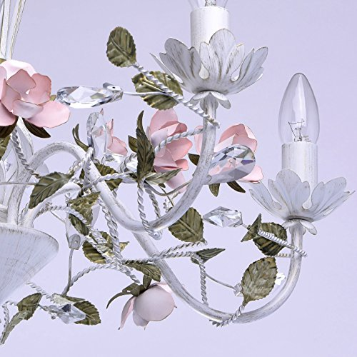 Florentiner Kronleuchter Chic-Stil Metall weiß - 9
