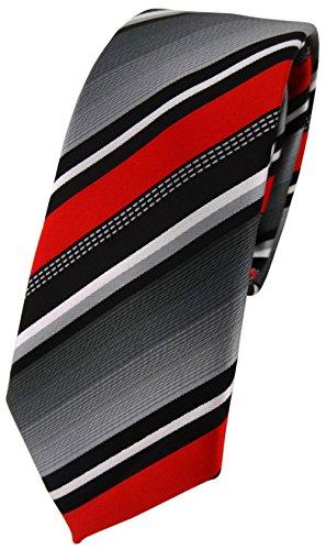 schmale TigerTie Designer Krawatte in rot silber grau weiss gestreift - Schlips Tie