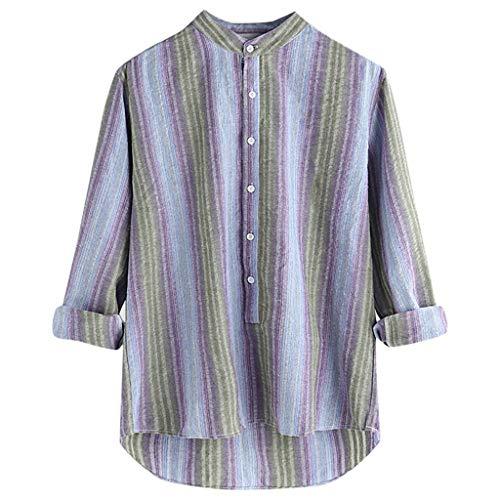 Carol -1 Herren Regular-Fit Long-Sleeve Stripe Pocket Baumwolle Freizeithemd Streifen Bluse Herren Gestreift Oberteile V-Ausschnitt Lose Casual Langarm T-Shirt Top Langarmshirt Schlank Blusen -