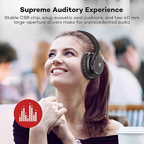 TaoTronics Bluetooth Kopfhörer Over Ear Headset 25 Stunden Spielzeit, Einstellbar mit CVC 6.0 Mikro, Zusammenklappbares Design mit on-Ear-Steuerung - 4